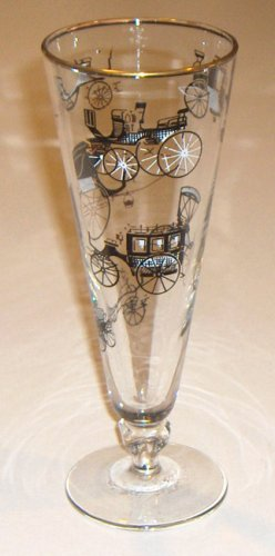 Vintage Libbey Horseless Carriage Pilsner Glass - 22K Gold and Black