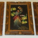 Vintage Mexican Feathercraft Bird Handpainted Advertising Wall Plaques circa 40s-50s