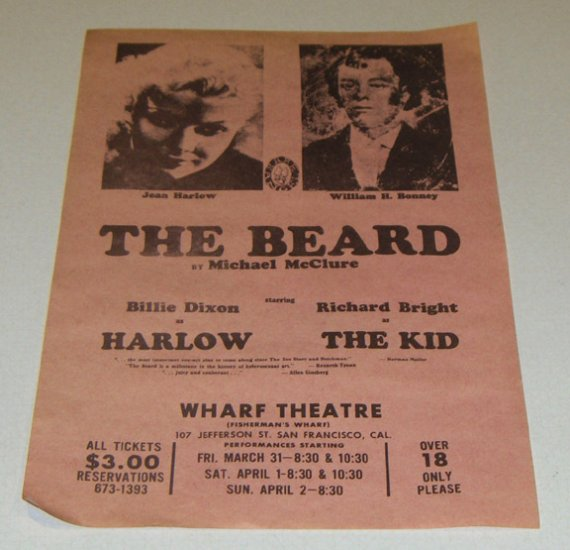 1967 Handbill -  The Beard by Michael McClure Wharf  Theatre