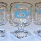 Vintage Mid-Century Libbey Showboat Steamboat Wine / Dessert Glasses Turquoise Gold Trim Set of 7