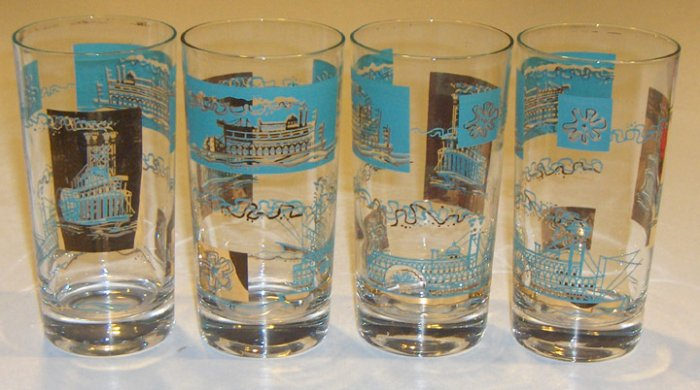 Vintage SC Libbey Showboat Steamboat Glasses Turquoise w/ Gold Trim Set of 7