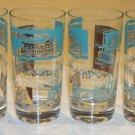 Vintage Mid-Century SC Libbey Showboat Steamboat Glasses Turquoise Gold Trim Set of 7