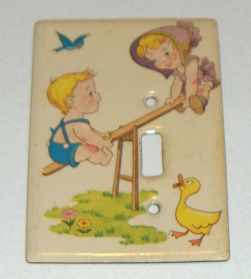 Vintage Metal Switchplate Cover - Young Boy & Girl on Seesaw with Duck, Bluebird