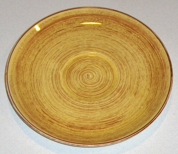 Vintage Blue Ridge Southern Potteries Brown Swirl on Yellow Saucers (no cups) - Set of 4