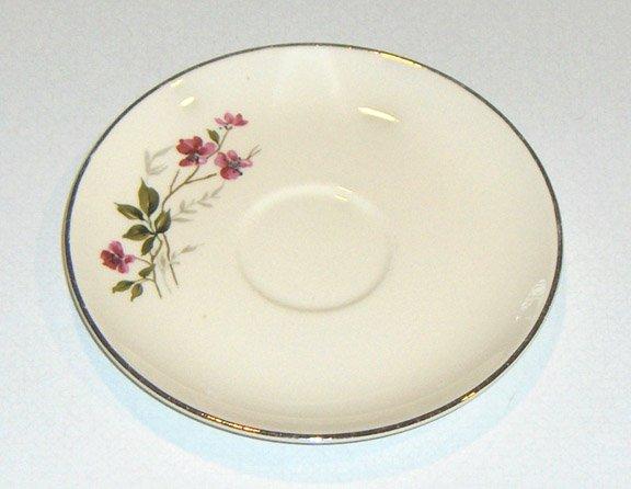 Vintage Universal Ballerina China UNI24 Pink Flowers Platinum Trim Saucers (no cups) Set of 3