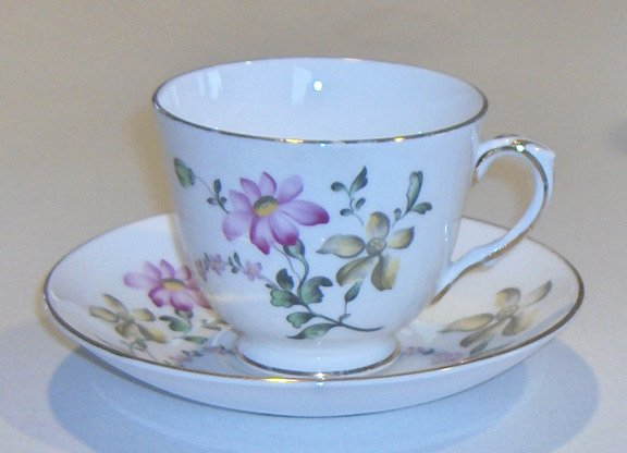 Vintage Royal Victoria Bone China Lavender / Yellow Floral Cup and Saucer - Gold Trim