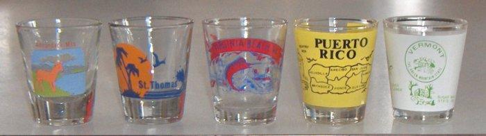 Vintage Souvenir Shot Glasses - Set of 5