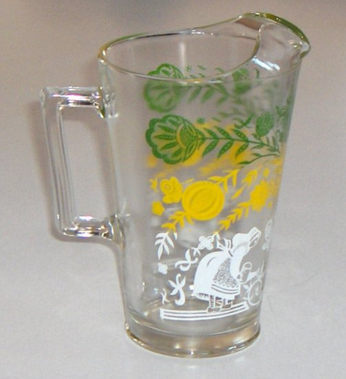 Vintage Glass Pitcher with Ice Lip - 'Swanky Swig' Pennsylvania Dutch Floral Design Enamel Paint