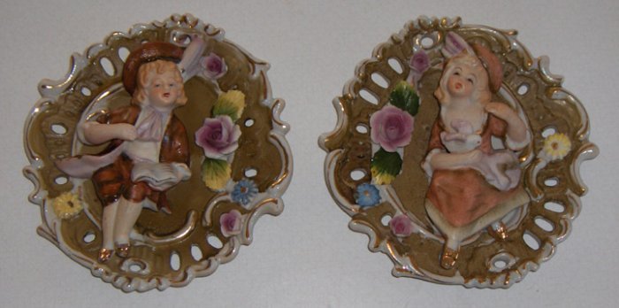 Vintage Porcelain Colonial Boy & Girl Wall Plaques - Set of 2 MIJ