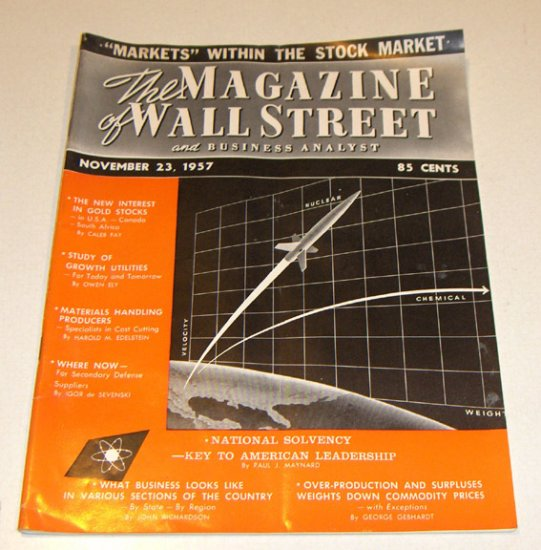 Vintage Magazine - The Magazine of Wall Street and Business Analyst Nov. 23, 1957 Issue
