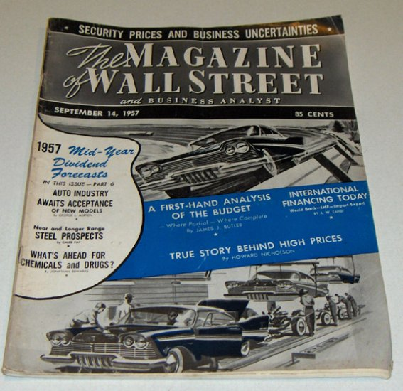 Vintage Magazine - The Magazine of Wall Street and Business Analyst Sept. 14, 1957 Issue