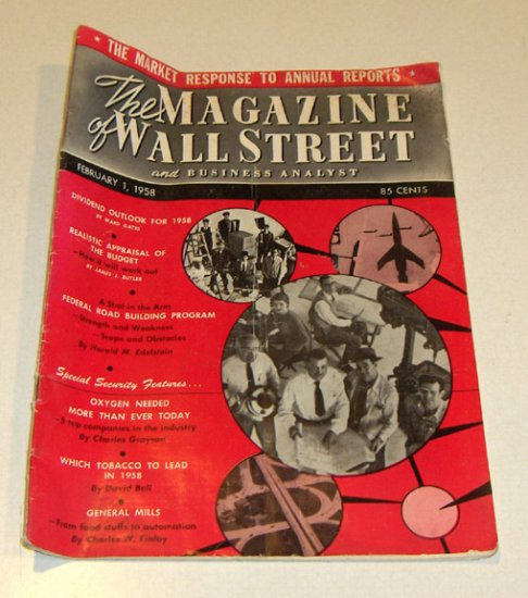 Vintage Magazine - The Magazine of Wall Street and Business Analyst Feb. 1, 1958 Issue