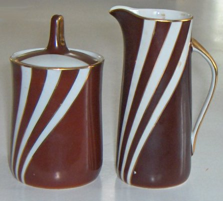 Vintage Cmielow Krokus Cocoa Brown / Gold Creamer & Sugar Bowl with Lid