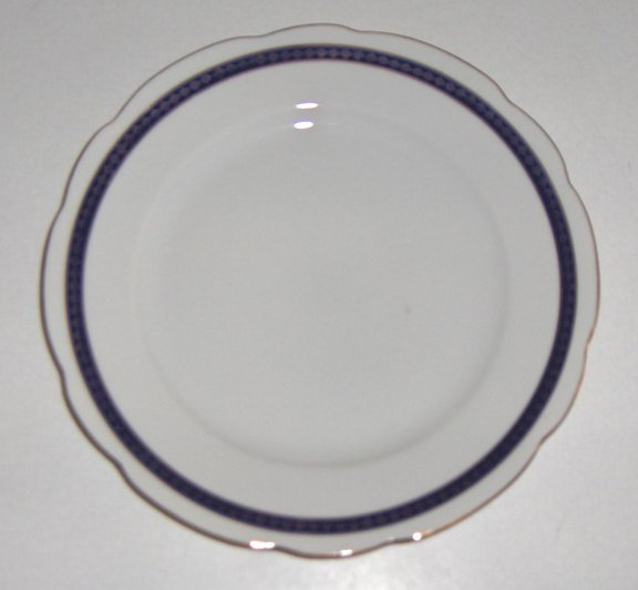 Vintage Cmielow Cobalt Blue Band with Gold Salad or Bread Plates - Set of 3