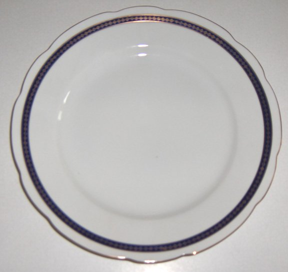 Vintage Cmielow Cobalt Blue Band with Gold Dinner Plates - Set of 3