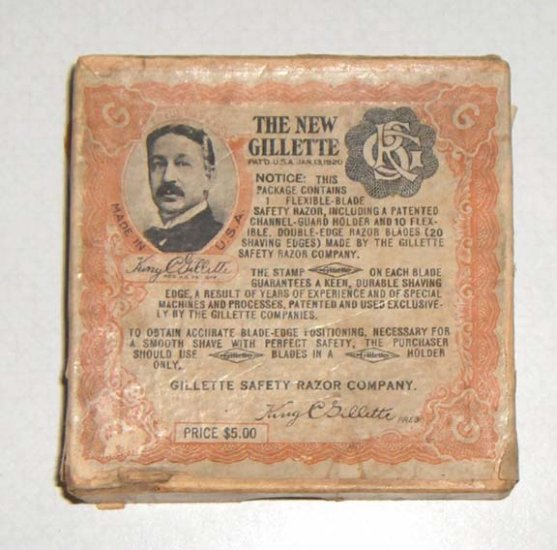 GILLETTE Greek Key Silver Razor Tuckaway Set in Original Box 1920
