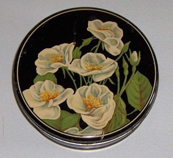 "Vintage White Flowers Floral Candy or Biscuit Tin - 6"" Diameter"