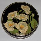 """Vintage White Flowers Floral Candy or Biscuit Tin - 6"""" Diameter"""