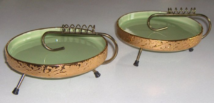 Vintage Weeping Gold & Light Green Ceramic with Metal Stand Ashtray - Set of 2