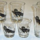 Clear Glass with Ram Motif Pitcher & 5 Glasses