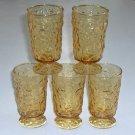Vintage Anchor Hocking Amber Milano Lido Footed Juice Glasses - Set of 5