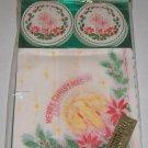 Vintage Christmas Paper Napkins & Coaster Japan MIP