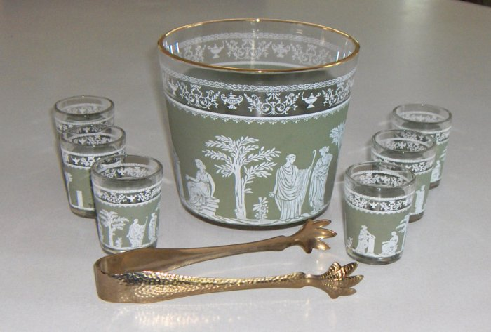 Jeannette HELLENIC Green Ice Bucket & 6 Shot Glasses circa 1960s