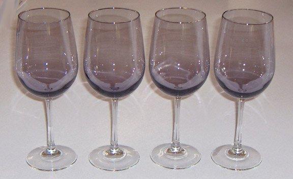 Amethyst Glass Clear Stem Wine Glass Set of 4