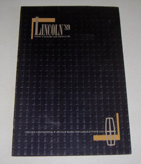 1989 Lincoln Mark VII Continental Automobile Sales Brochure
