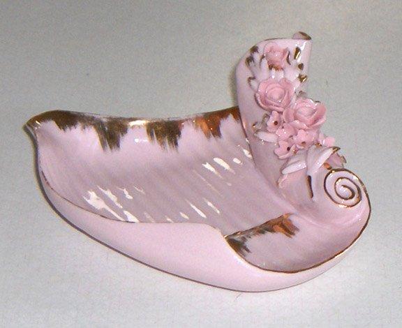 Vintage LEFTON Ornate Pink Forget-me-nots Floral Ashtray #KW4700