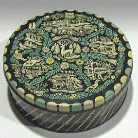 Vintage Biscuit Candy Tin with Woodcut Design