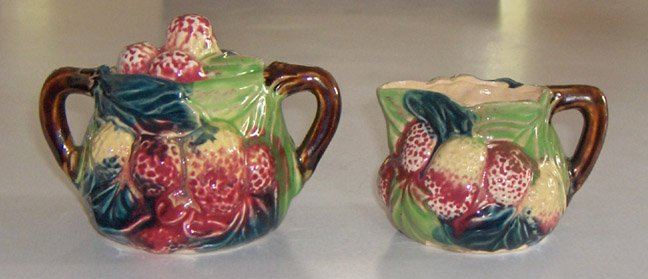 Vintage Majolica Creamer and Sugar Bowl with Lid MIJ