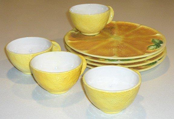 Vintage Inarco Lemonade Lemon Luncheon Set - Set of 4 Plates & 4 Cups