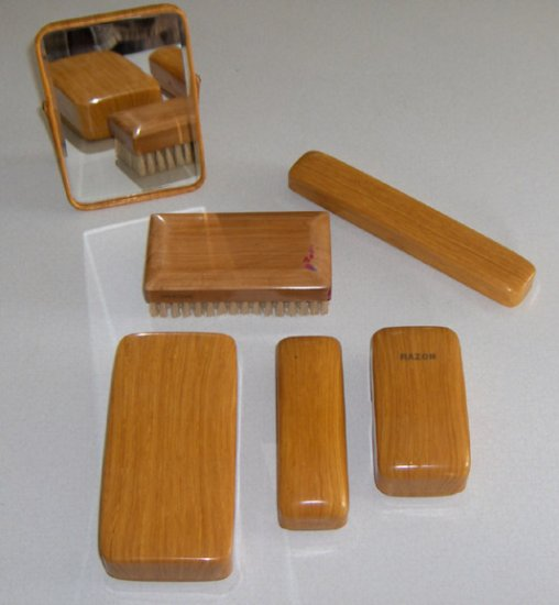 Vintage Celluloid Grooming 6 Pc Travel Set - New, Never used