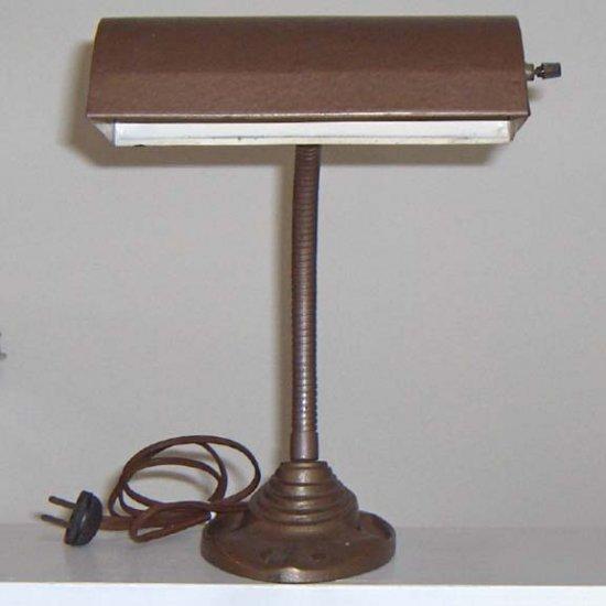 Vintage Art Deco Cast Iron Desk Lamp & Pen Holder - Fortune