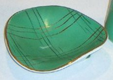 Vintage Cmielow Free Form Candy Dish - Green Gold Abstract