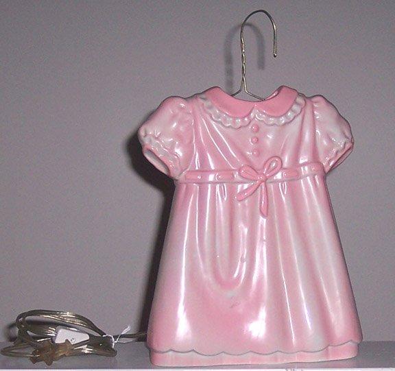 Vintage SARSAPARILLA Designs Pink Girl's Dress Night Light 1985