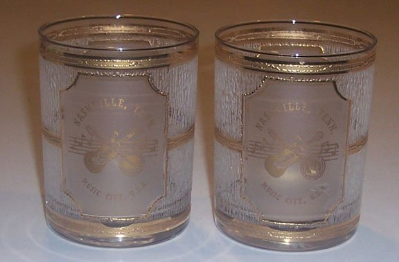 Vintage Nashville Tenn. Music City Souvenir Glasses - Set of 2