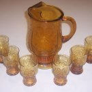 Vintage Libbey Country Garden 64 oz. Pitcher & 6 Juice Glasses