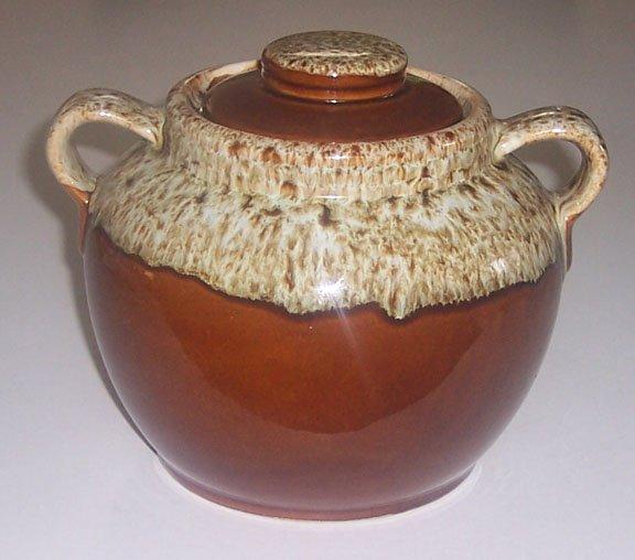 Vintage Brown Drip Handled Bean Pot with Lid