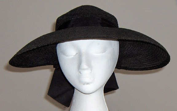 Vintage Black Woven Wide Brim Hat with Bow