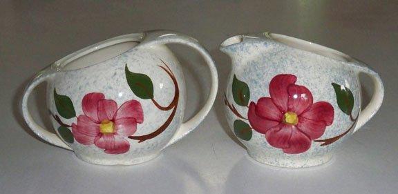 Vintage Blue Ridge Mayflower Blue Creamer & Sugar Bowl (no lid)