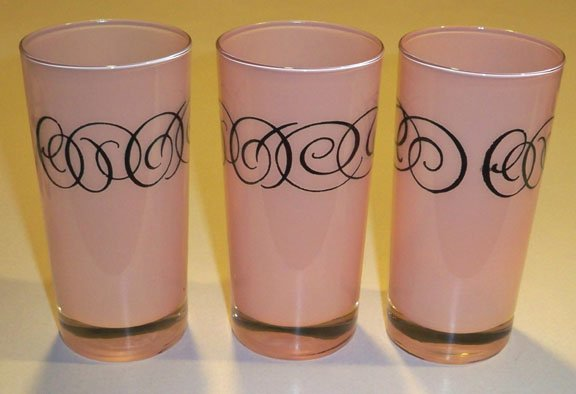 Vintage Pink Frosted Glass Tumblers with Black Calligraphic Flourish - Set of 6