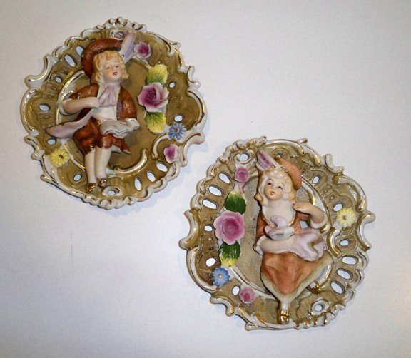 Vintage Bisque Wall Plaques - Young Colonial Boy & Girl MIJ