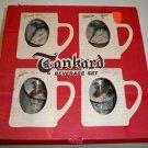 Vintage Federal Glass Game Bird Tankard Mug Set - Engraved Evelyn Jack Walter - MIB
