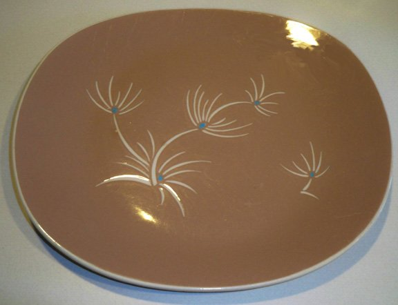 Vintage Harkerware / Harker Pottery Alpine Oval Platter Tan White Floral