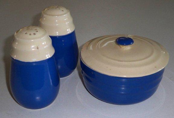 Vintage Oxford Potteries Blue & Cream Salt Pepper Shakers Sugar Bowl w/ Lid