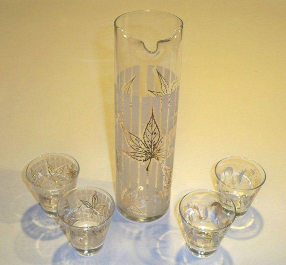 Vintage Retro White & Gold Leaves Abstract Beverage Server & 4 Glasses