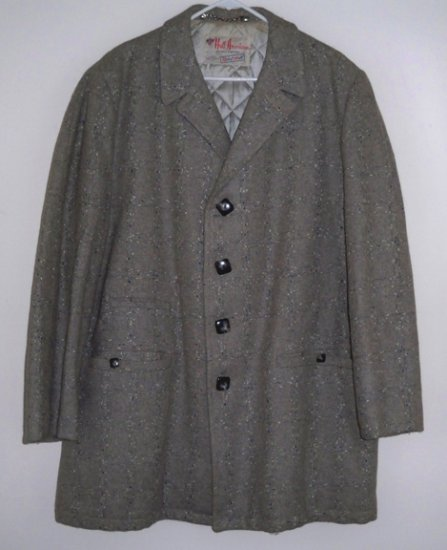 Vintage Robert Hall Mens 3/4 Coat Grey Wool Windowpane Plaid - Size 42