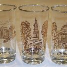 Vintage Glass Artist V. Cuthbert - Buffalo Historical Location Tumblers Set of 6